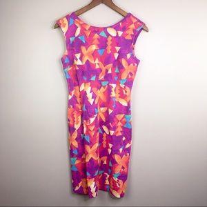 Vintage ESPRIT size 3/4 Geometric Pink Dress Italy